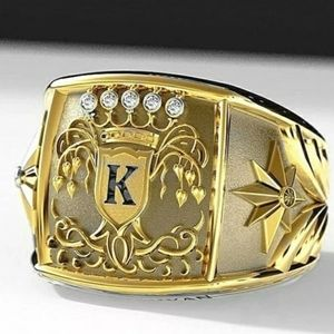 18k Yellow Gold Simulated Diamonds Ring for Men